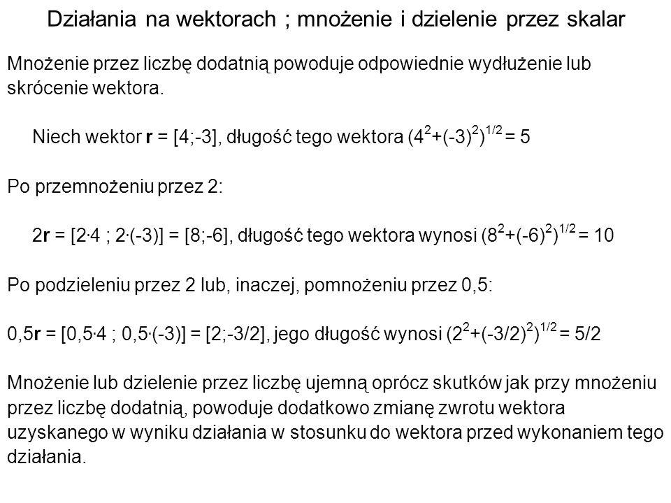 Działania na wektorach ; odejmowanie Niech współrzędne wektora r 1 wynoszą odpowiednio x r1 i y r1 czyli r 1 = [x r1 ; y r1 ] i niech analogicznie r 2 = [x r2 ; y r2 ].