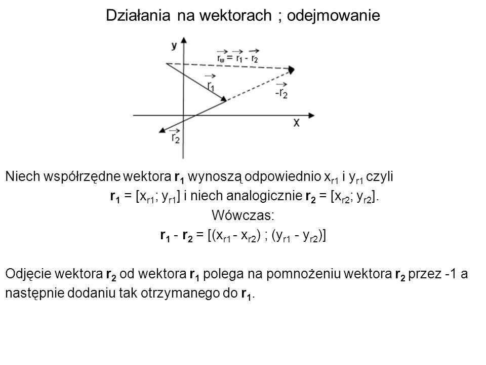 Działania na wektorach ; odejmowanie Niech współrzędne wektora r 1 wynoszą odpowiednio x r1 i y r1 czyli r 1 = [x r1 ; y r1 ] i niech analogicznie r 2