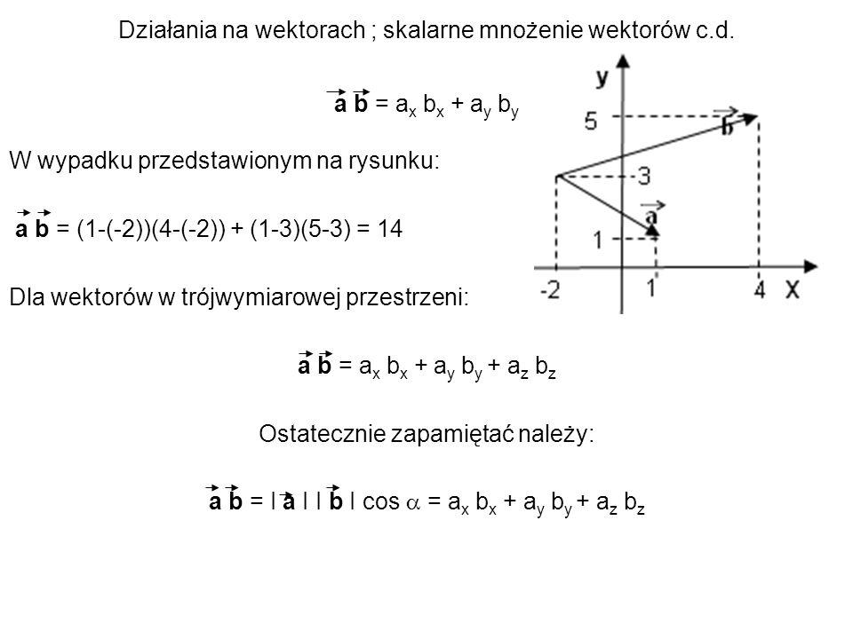 Działania na wektorach ; skalarne mnożenie wektorów c.d. a b = a x b x + a y b y W wypadku przedstawionym na rysunku: a b = (1-(-2))(4-(-2)) + (1-3)(5