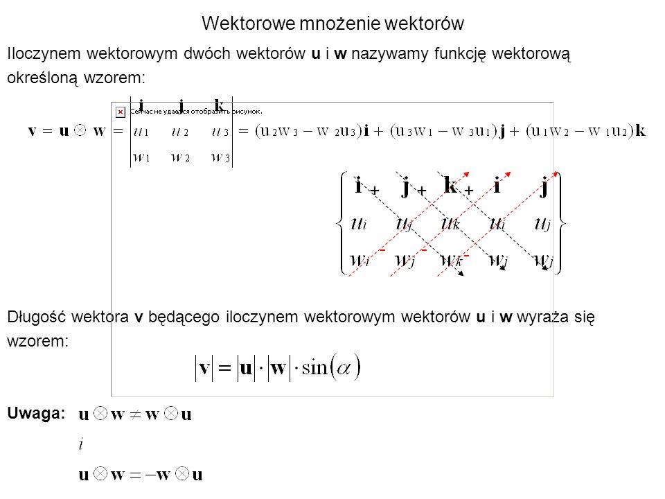 Wektorowe mnożenie wektorów Iloczynem wektorowym dwóch wektorów u i w nazywamy funkcję wektorową określoną wzorem: Długość wektora v będącego iloczyne