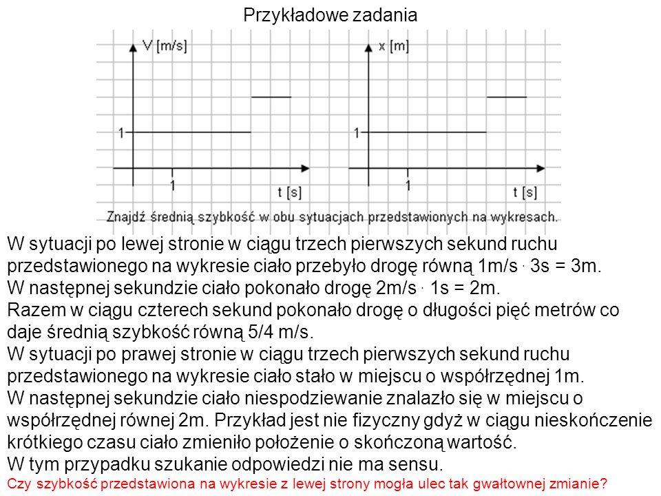 Przykładowe zadania W sytuacji po lewej stronie w ciągu trzech pierwszych sekund ruchu przedstawionego na wykresie ciało przebyło drogę równą 1m/s. 3s