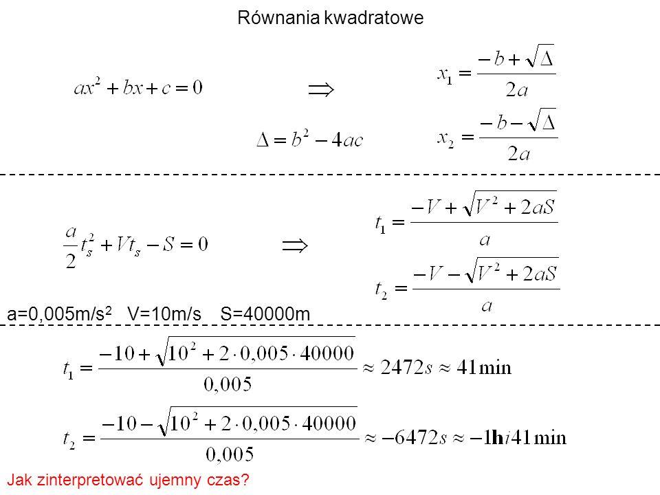 a=0,005m/s 2 V=10m/s S=40000m Jak zinterpretować ujemny czas?