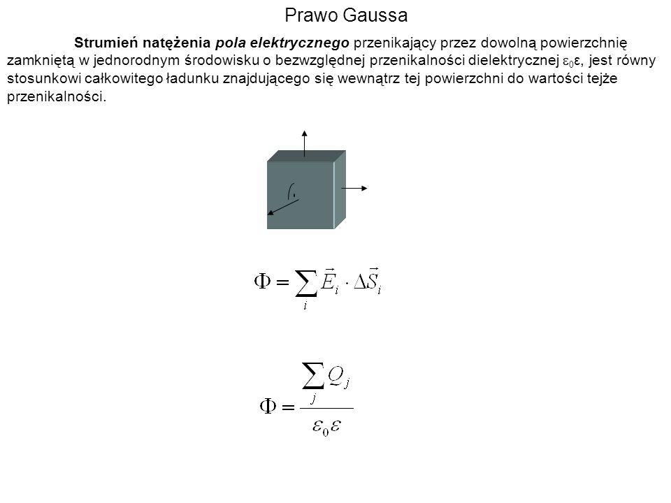 Prawo Gaussa Strumień natężenia pola elektrycznego przenikający przez dowolną powierzchnię zamkniętą w jednorodnym środowisku o bezwzględnej przenikal
