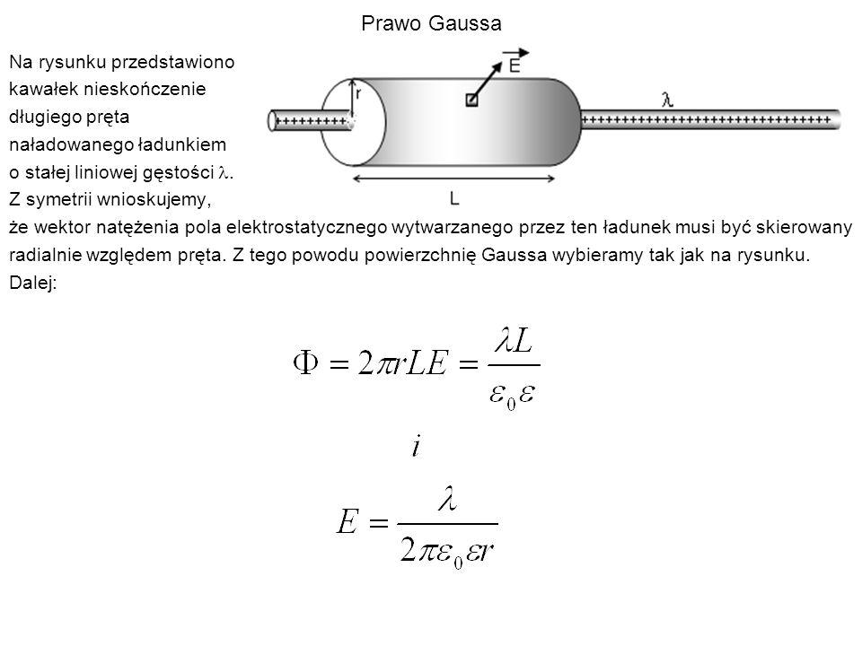 Prawo Gaussa Na rysunku przedstawiono kawałek nieskończenie długiego pręta naładowanego ładunkiem o stałej liniowej gęstości. Z symetrii wnioskujemy,