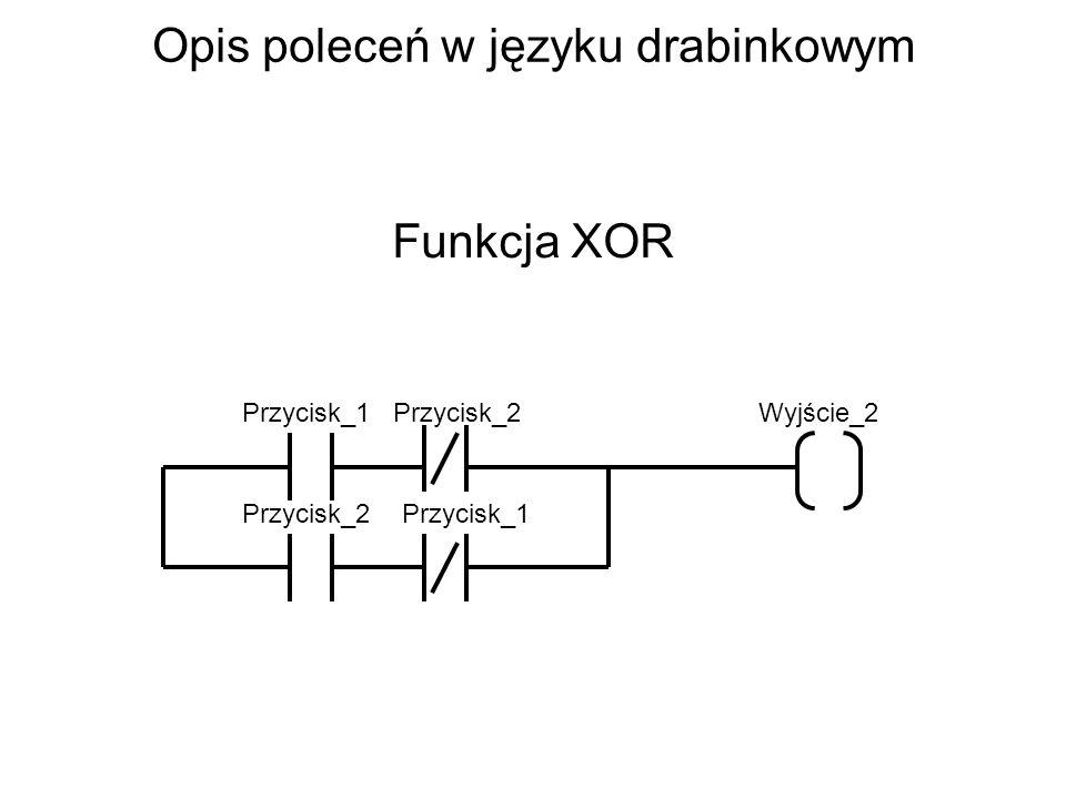 Opis poleceń w języku drabinkowym Funkcja XOR Przycisk_1Wyjście_2 Przycisk_2 Przycisk_1
