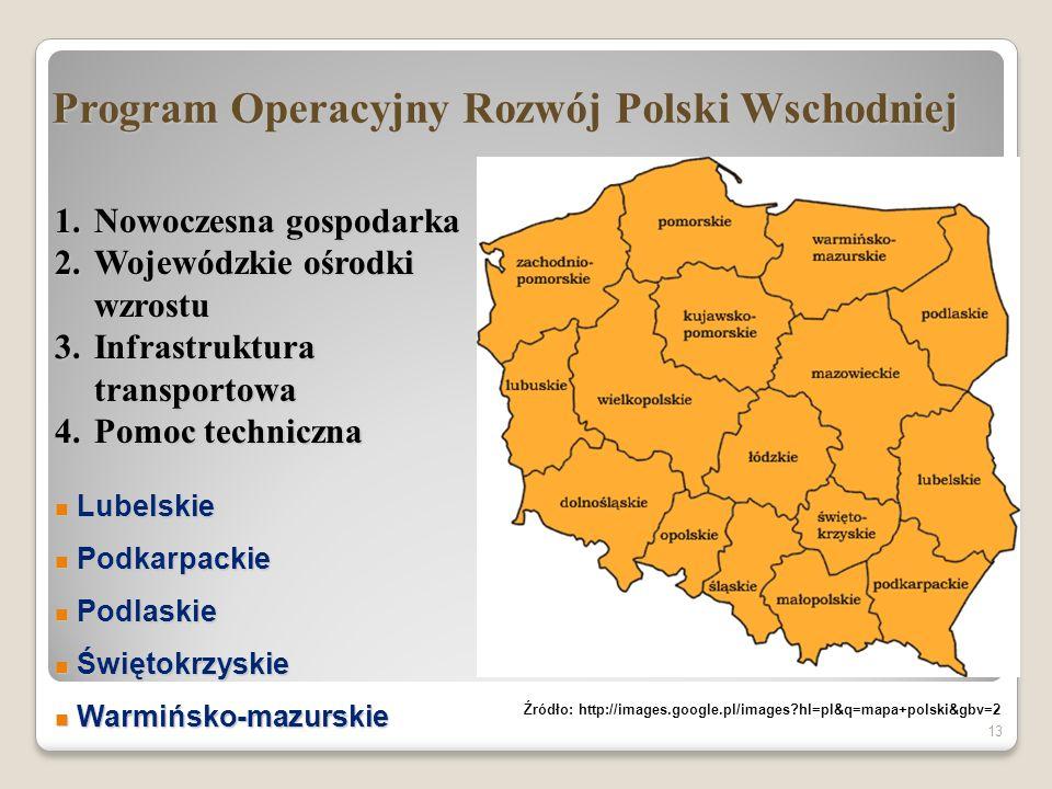 Program Operacyjny Rozwój Polski Wschodniej 13 1.Nowoczesna gospodarka 2.Wojewódzkie ośrodki wzrostu 3.Infrastruktura transportowa 4.Pomoc techniczna