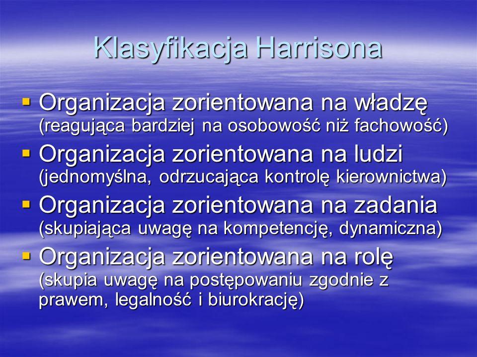 Klasyfikacja Harrisona Organizacja zorientowana na władzę (reagująca bardziej na osobowość niż fachowość) Organizacja zorientowana na władzę (reagując