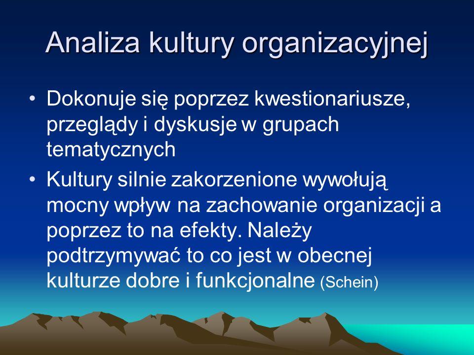 Analiza kultury organizacyjnej Dokonuje się poprzez kwestionariusze, przeglądy i dyskusje w grupach tematycznych Kultury silnie zakorzenione wywołują