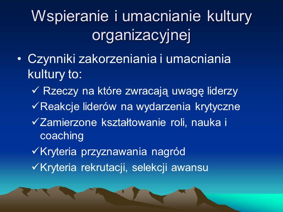 Wspieranie i umacnianie kultury organizacyjnej Czynniki zakorzeniania i umacniania kultury to: Rzeczy na które zwracają uwagę liderzy Reakcje liderów
