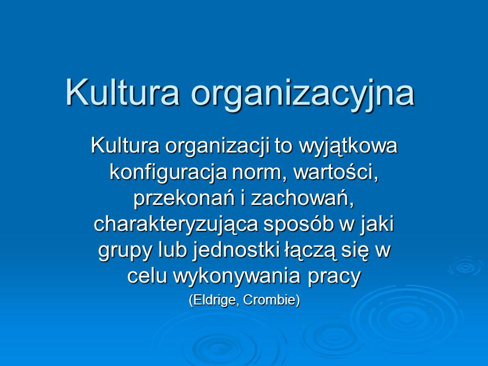 Kultura organizacyjna Kultura organizacji to wyjątkowa konfiguracja norm, wartości, przekonań i zachowań, charakteryzująca sposób w jaki grupy lub jed