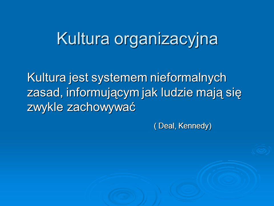 Kultura organizacyjna Kultura jest systemem nieformalnych zasad, informującym jak ludzie mają się zwykle zachowywać ( Deal, Kennedy)