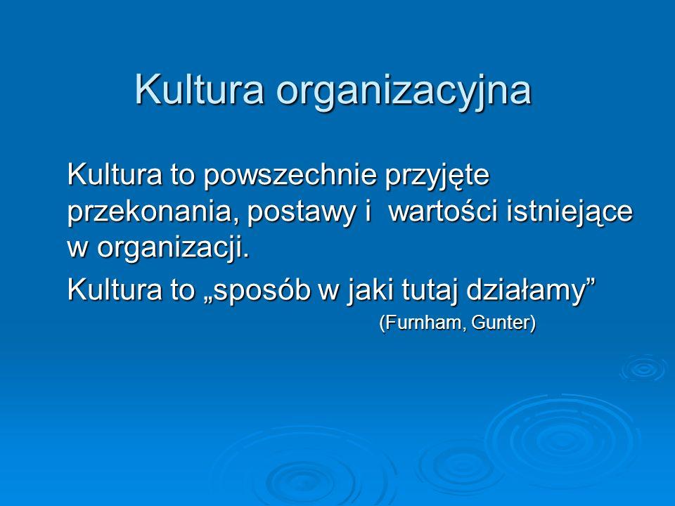 Kultura organizacyjna Kultura to powszechnie przyjęte przekonania, postawy i wartości istniejące w organizacji. Kultura to sposób w jaki tutaj działam