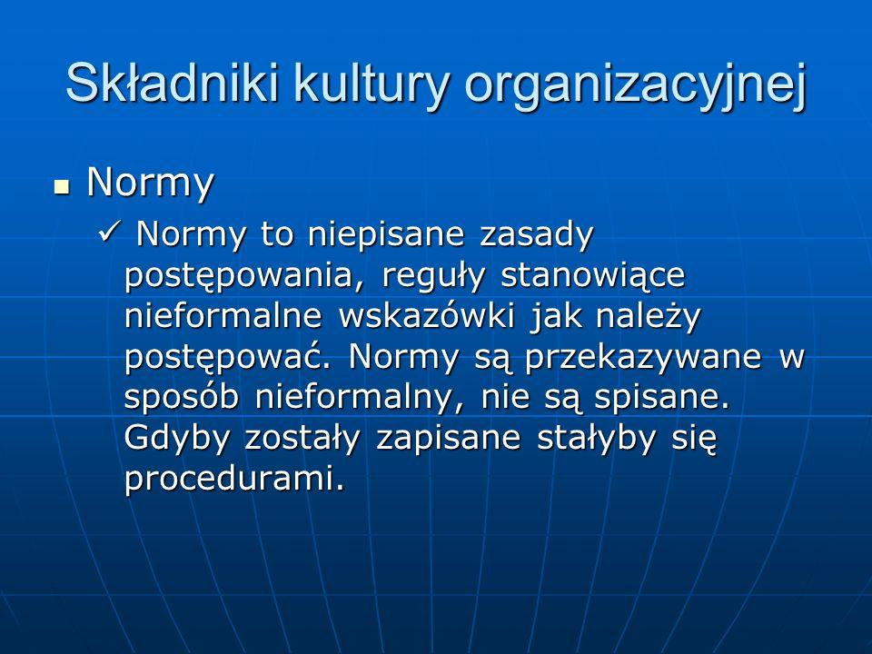 Składniki kultury organizacyjnej Normy Normy Normy to niepisane zasady postępowania, reguły stanowiące nieformalne wskazówki jak należy postępować. No