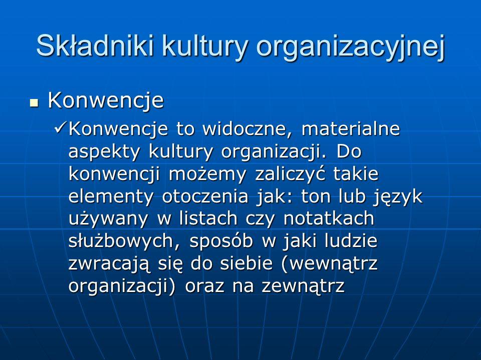 Składniki kultury organizacyjnej Konwencje Konwencje Konwencje to widoczne, materialne aspekty kultury organizacji. Do konwencji możemy zaliczyć takie