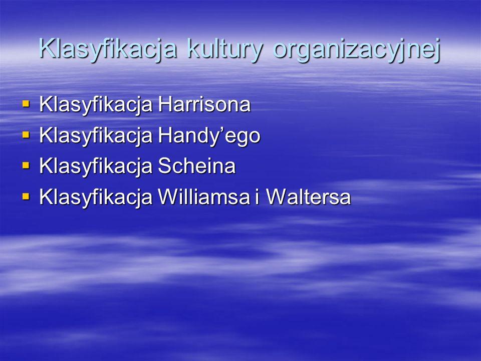 Klasyfikacja Harrisona Organizacja zorientowana na władzę (reagująca bardziej na osobowość niż fachowość) Organizacja zorientowana na władzę (reagująca bardziej na osobowość niż fachowość) Organizacja zorientowana na ludzi (jednomyślna, odrzucająca kontrolę kierownictwa) Organizacja zorientowana na ludzi (jednomyślna, odrzucająca kontrolę kierownictwa) Organizacja zorientowana na zadania (skupiająca uwagę na kompetencję, dynamiczna) Organizacja zorientowana na zadania (skupiająca uwagę na kompetencję, dynamiczna) Organizacja zorientowana na rolę (skupia uwagę na postępowaniu zgodnie z prawem, legalność i biurokrację) Organizacja zorientowana na rolę (skupia uwagę na postępowaniu zgodnie z prawem, legalność i biurokrację)