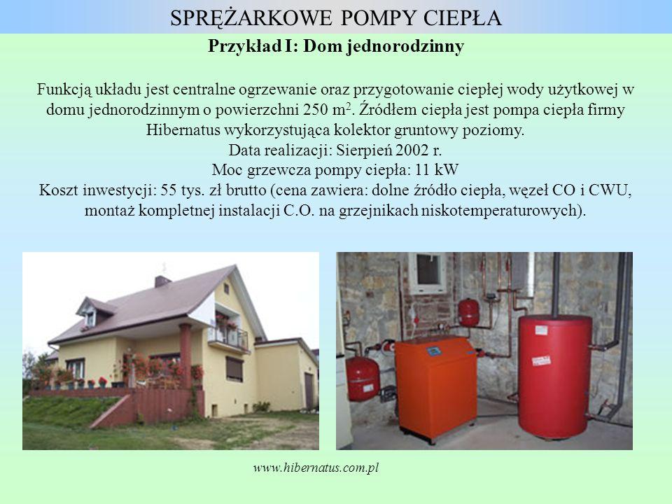 Przykład I: Dom jednorodzinny Funkcją układu jest centralne ogrzewanie oraz przygotowanie ciepłej wody użytkowej w domu jednorodzinnym o powierzchni 2