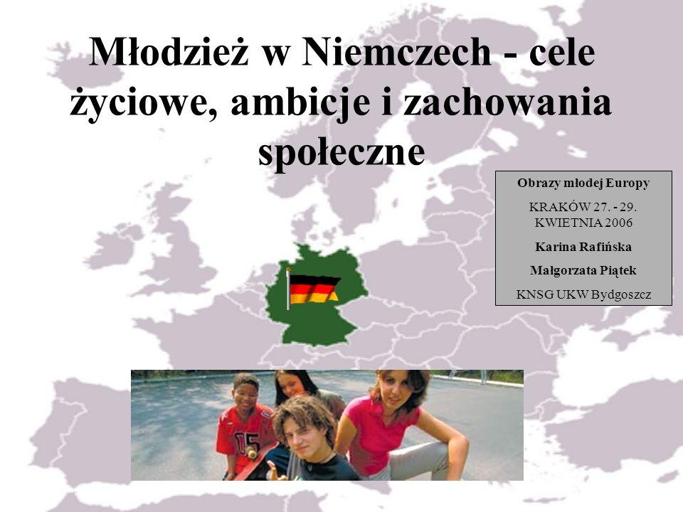 Młodzież w Niemczech - cele życiowe, ambicje i zachowania społeczne Obrazy młodej Europy KRAKÓW 27. - 29. KWIETNIA 2006 Karina Rafińska Małgorzata Pią