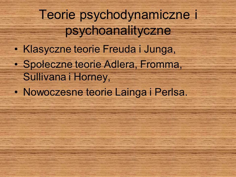 Teorie psychodynamiczne i psychoanalityczne Klasyczne teorie Freuda i Junga, Społeczne teorie Adlera, Fromma, Sullivana i Horney, Nowoczesne teorie La