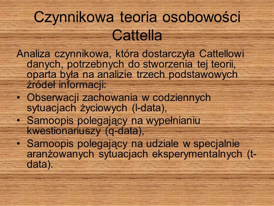 Czynnikowa teoria osobowości Cattella Analiza czynnikowa, która dostarczyła Cattellowi danych, potrzebnych do stworzenia tej teorii, oparta była na an