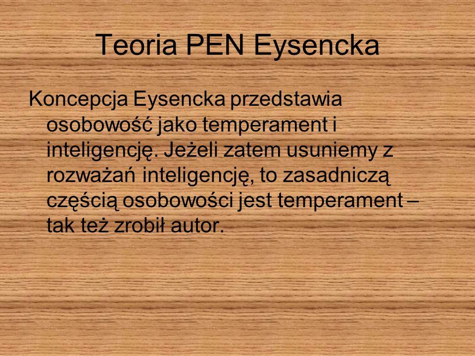 Teoria PEN Eysencka Koncepcja Eysencka przedstawia osobowość jako temperament i inteligencję. Jeżeli zatem usuniemy z rozważań inteligencję, to zasadn