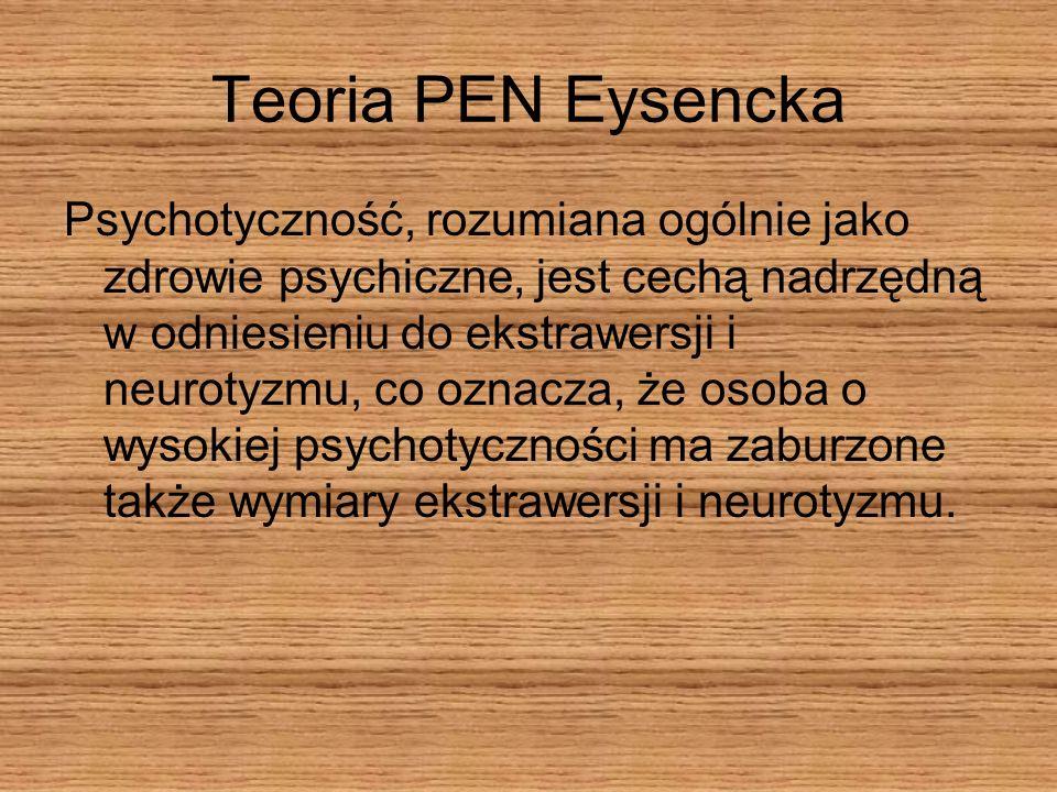 Teoria PEN Eysencka Psychotyczność, rozumiana ogólnie jako zdrowie psychiczne, jest cechą nadrzędną w odniesieniu do ekstrawersji i neurotyzmu, co ozn