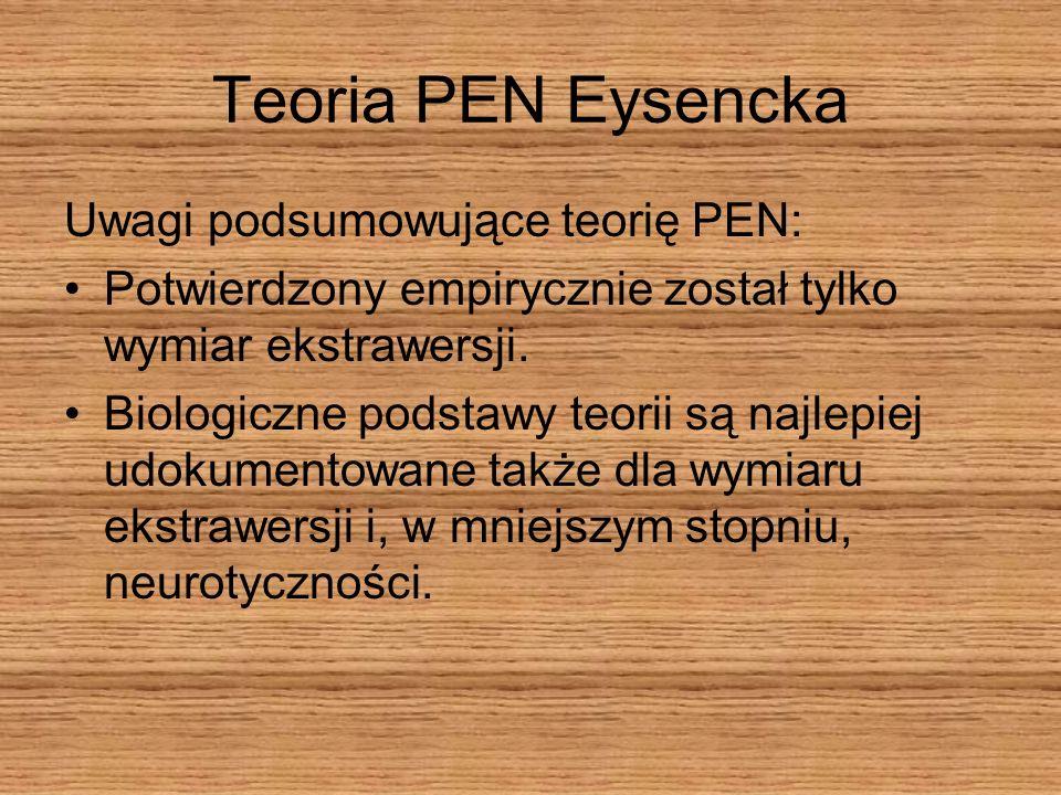 Teoria PEN Eysencka Uwagi podsumowujące teorię PEN: Potwierdzony empirycznie został tylko wymiar ekstrawersji. Biologiczne podstawy teorii są najlepie