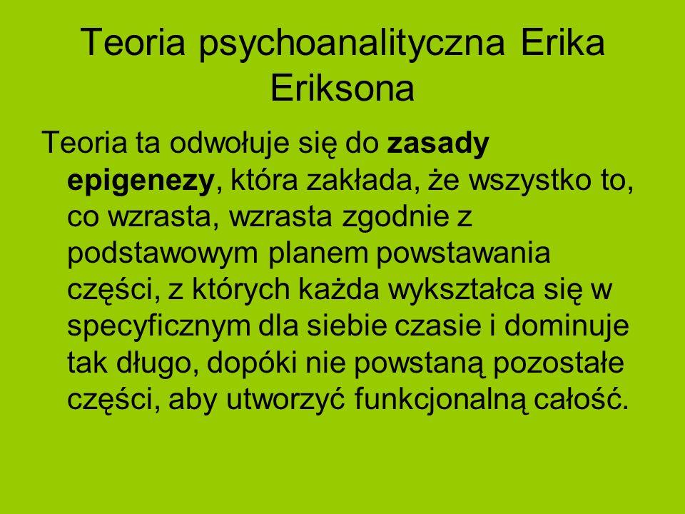 Teoria psychoanalityczna Erika Eriksona Teoria ta odwołuje się do zasady epigenezy, która zakłada, że wszystko to, co wzrasta, wzrasta zgodnie z podst