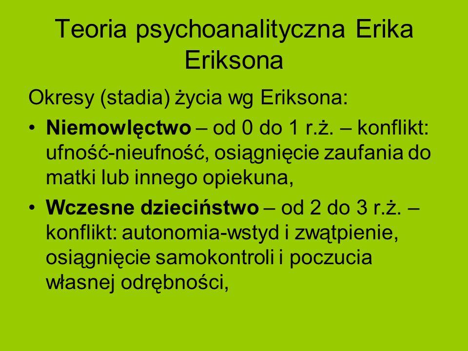 Teoria psychoanalityczna Erika Eriksona Okresy (stadia) życia wg Eriksona: Niemowlęctwo – od 0 do 1 r.ż. – konflikt: ufność-nieufność, osiągnięcie zau