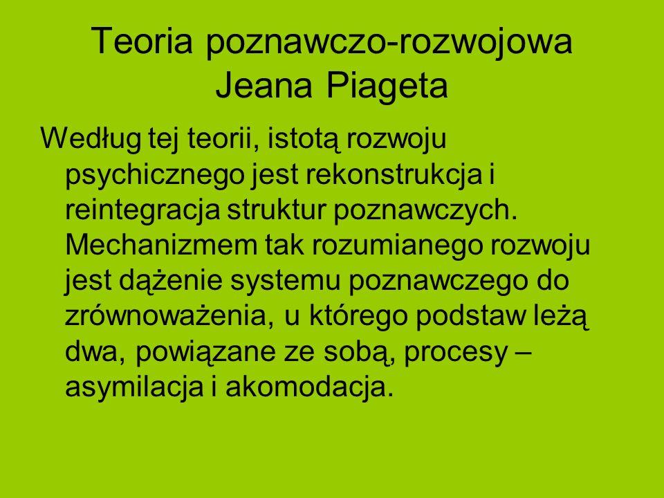 Teoria poznawczo-rozwojowa Jeana Piageta Według tej teorii, istotą rozwoju psychicznego jest rekonstrukcja i reintegracja struktur poznawczych. Mechan