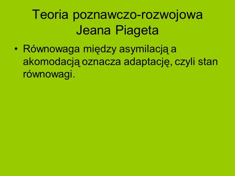 Teoria poznawczo-rozwojowa Jeana Piageta Równowaga między asymilacją a akomodacją oznacza adaptację, czyli stan równowagi.