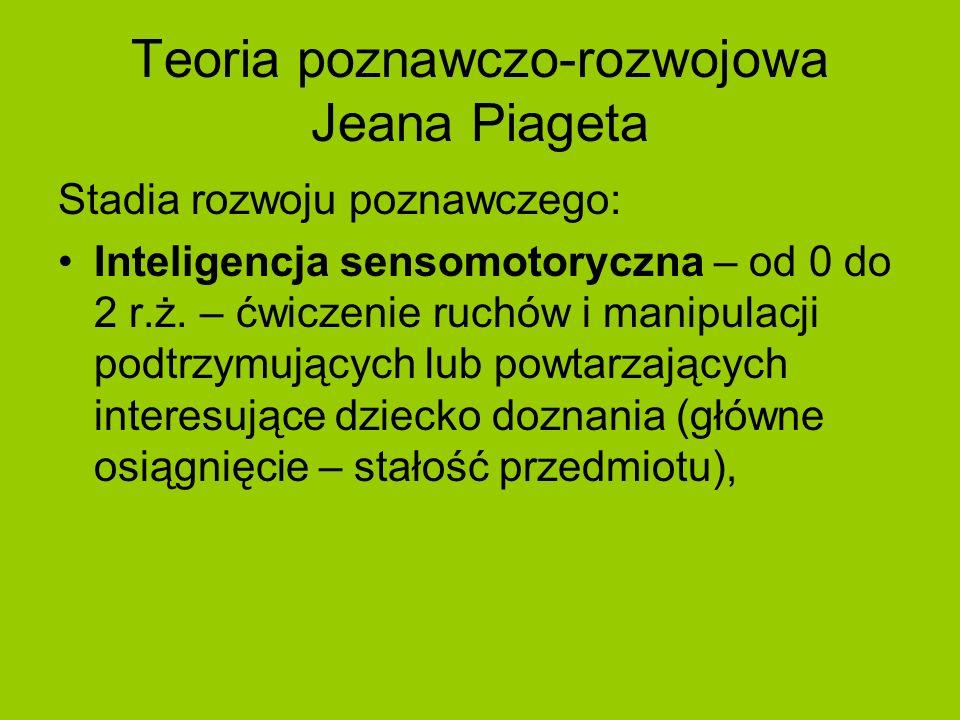 Teoria poznawczo-rozwojowa Jeana Piageta Stadia rozwoju poznawczego: Inteligencja sensomotoryczna – od 0 do 2 r.ż. – ćwiczenie ruchów i manipulacji po