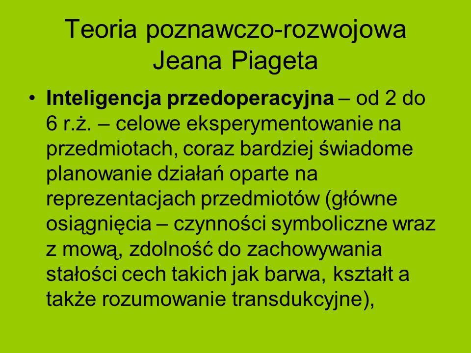 Teoria poznawczo-rozwojowa Jeana Piageta Inteligencja przedoperacyjna – od 2 do 6 r.ż. – celowe eksperymentowanie na przedmiotach, coraz bardziej świa