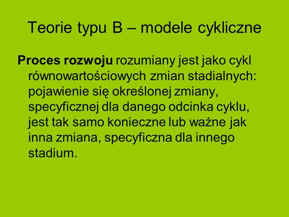 Teorie typu B – modele cykliczne Proces rozwoju rozumiany jest jako cykl równowartościowych zmian stadialnych: pojawienie się określonej zmiany, specy