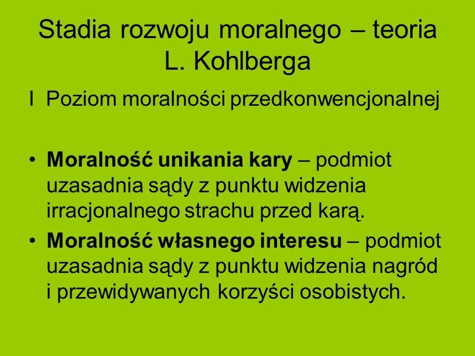 Stadia rozwoju moralnego – teoria L. Kohlberga I Poziom moralności przedkonwencjonalnej Moralność unikania kary – podmiot uzasadnia sądy z punktu widz