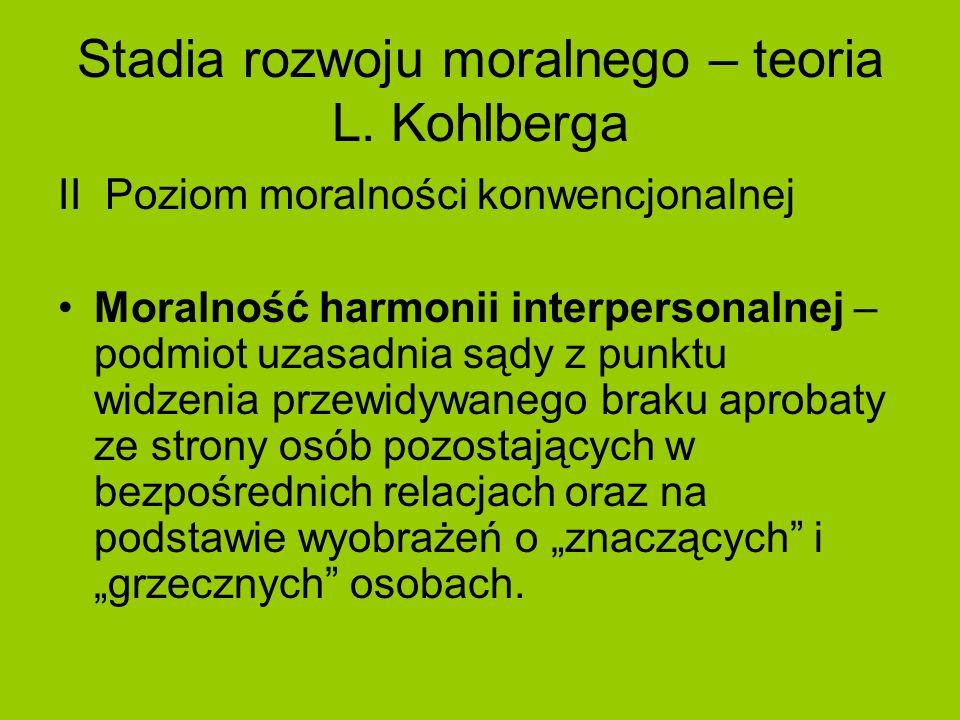 Stadia rozwoju moralnego – teoria L. Kohlberga II Poziom moralności konwencjonalnej Moralność harmonii interpersonalnej – podmiot uzasadnia sądy z pun
