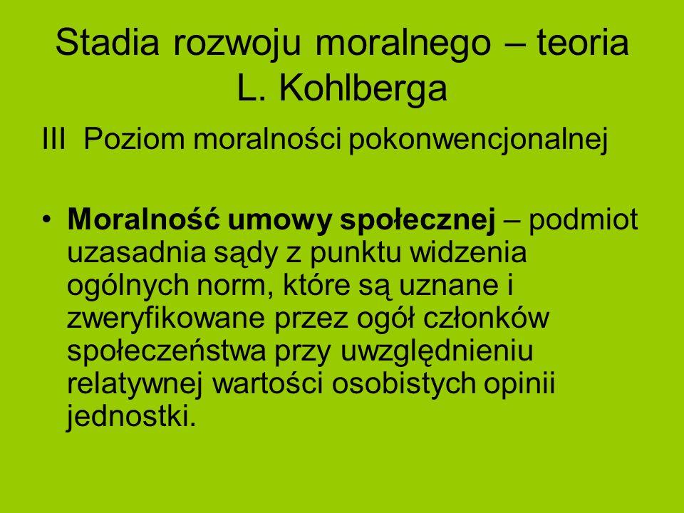 Stadia rozwoju moralnego – teoria L. Kohlberga III Poziom moralności pokonwencjonalnej Moralność umowy społecznej – podmiot uzasadnia sądy z punktu wi