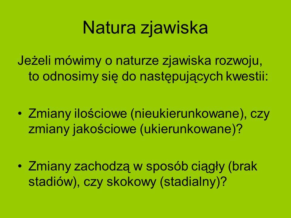 Natura zjawiska Jeżeli mówimy o naturze zjawiska rozwoju, to odnosimy się do następujących kwestii: Zmiany ilościowe (nieukierunkowane), czy zmiany ja