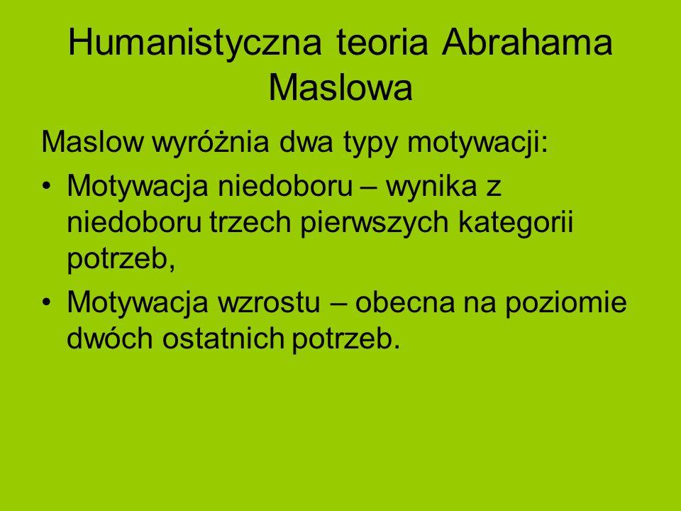 Humanistyczna teoria Abrahama Maslowa Maslow wyróżnia dwa typy motywacji: Motywacja niedoboru – wynika z niedoboru trzech pierwszych kategorii potrzeb