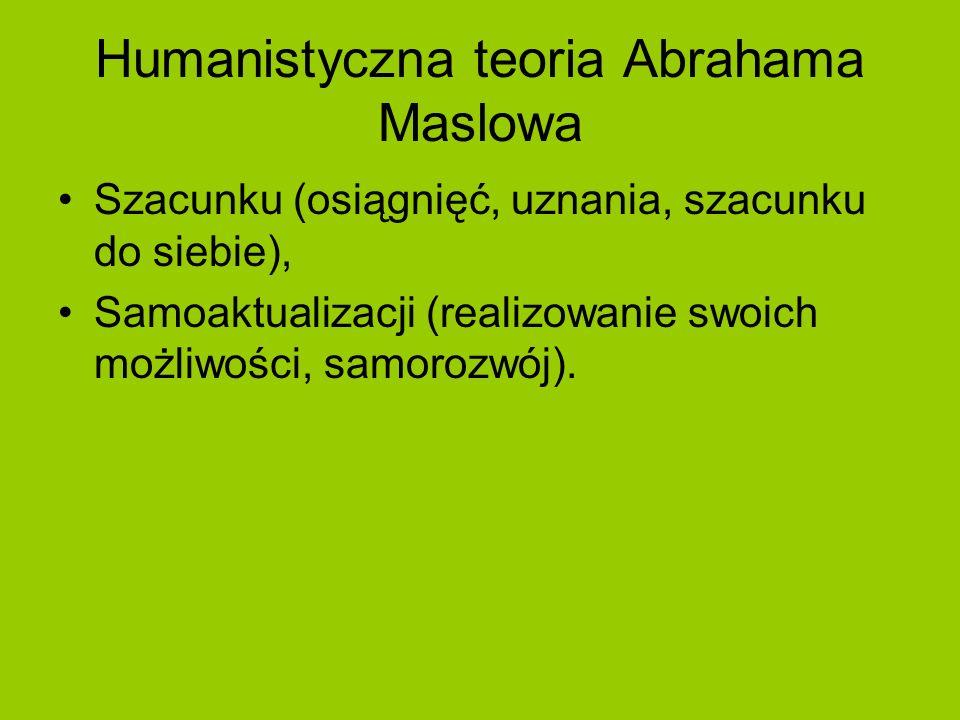 Humanistyczna teoria Abrahama Maslowa Szacunku (osiągnięć, uznania, szacunku do siebie), Samoaktualizacji (realizowanie swoich możliwości, samorozwój)