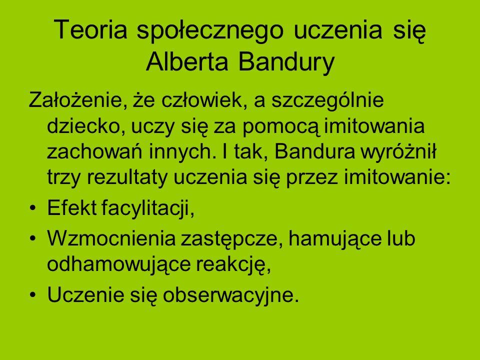 Teoria społecznego uczenia się Alberta Bandury Założenie, że człowiek, a szczególnie dziecko, uczy się za pomocą imitowania zachowań innych. I tak, Ba