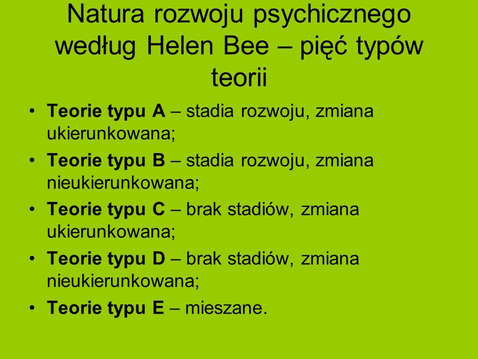 Natura rozwoju psychicznego według Helen Bee – pięć typów teorii Teorie typu A – stadia rozwoju, zmiana ukierunkowana; Teorie typu B – stadia rozwoju,