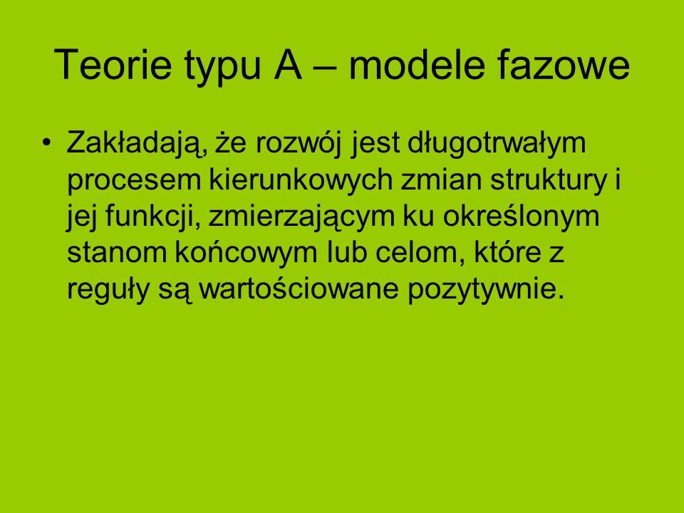 Teorie typu A – modele fazowe Zakładają, że rozwój jest długotrwałym procesem kierunkowych zmian struktury i jej funkcji, zmierzającym ku określonym s