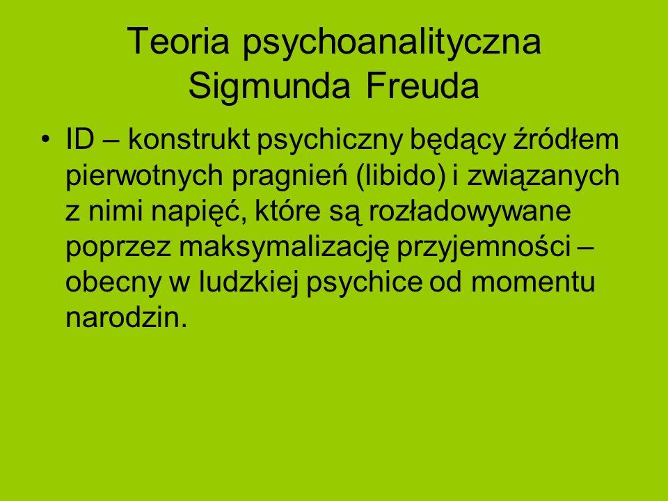 Teoria psychoanalityczna Sigmunda Freuda ID – konstrukt psychiczny będący źródłem pierwotnych pragnień (libido) i związanych z nimi napięć, które są r