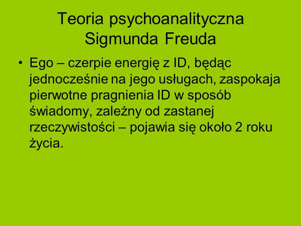 Teoria psychoanalityczna Sigmunda Freuda Ego – czerpie energię z ID, będąc jednocześnie na jego usługach, zaspokaja pierwotne pragnienia ID w sposób ś