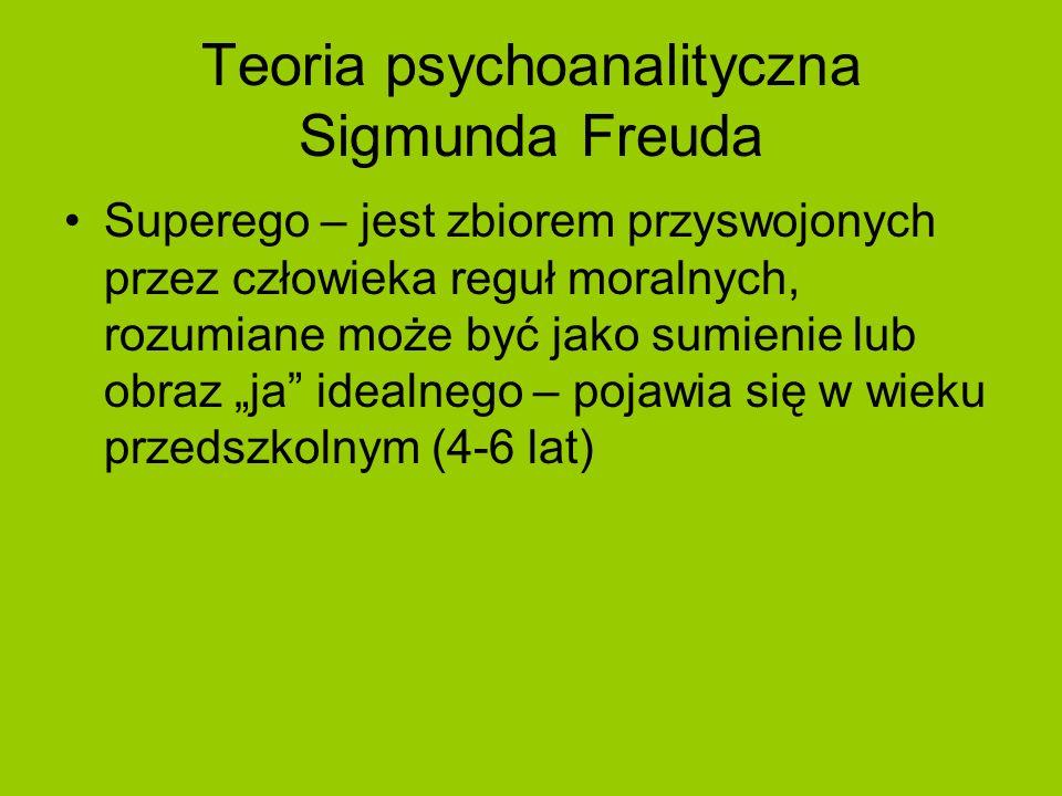 Teoria psychoanalityczna Sigmunda Freuda Superego – jest zbiorem przyswojonych przez człowieka reguł moralnych, rozumiane może być jako sumienie lub o