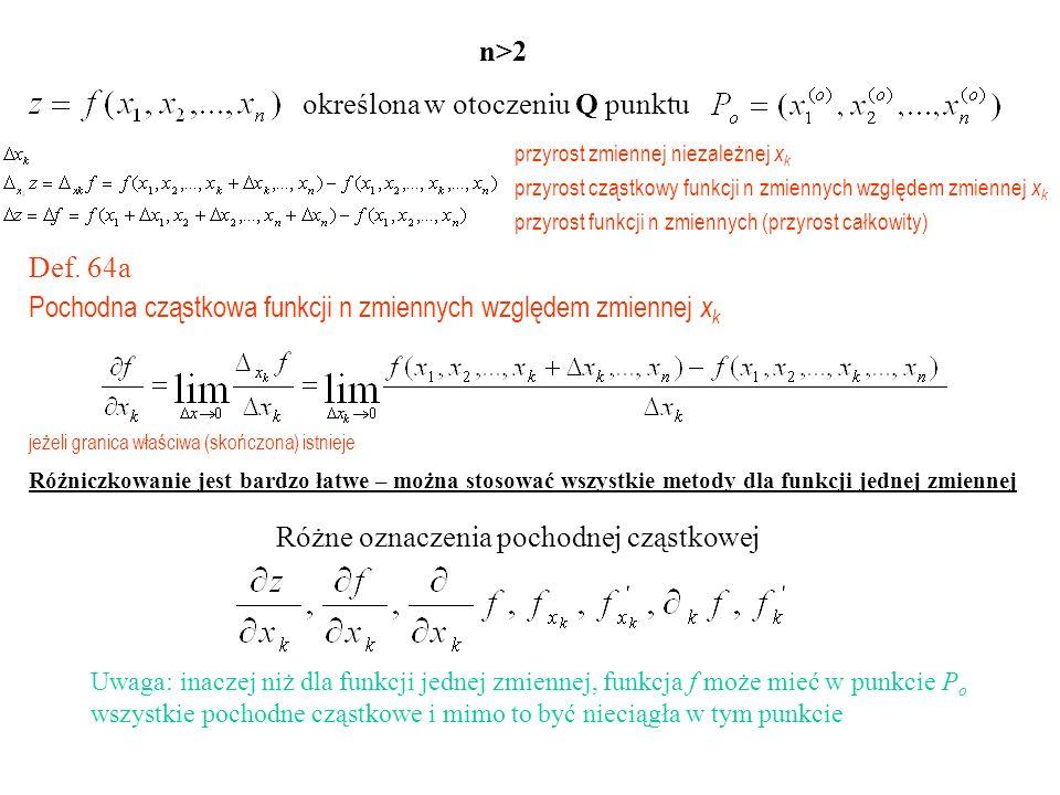 określona w otoczeniu Q punktu n>2 przyrost zmiennej niezależnej x k przyrost cząstkowy funkcji n zmiennych względem zmiennej x k przyrost funkcji n zmiennych (przyrost całkowity) Def.