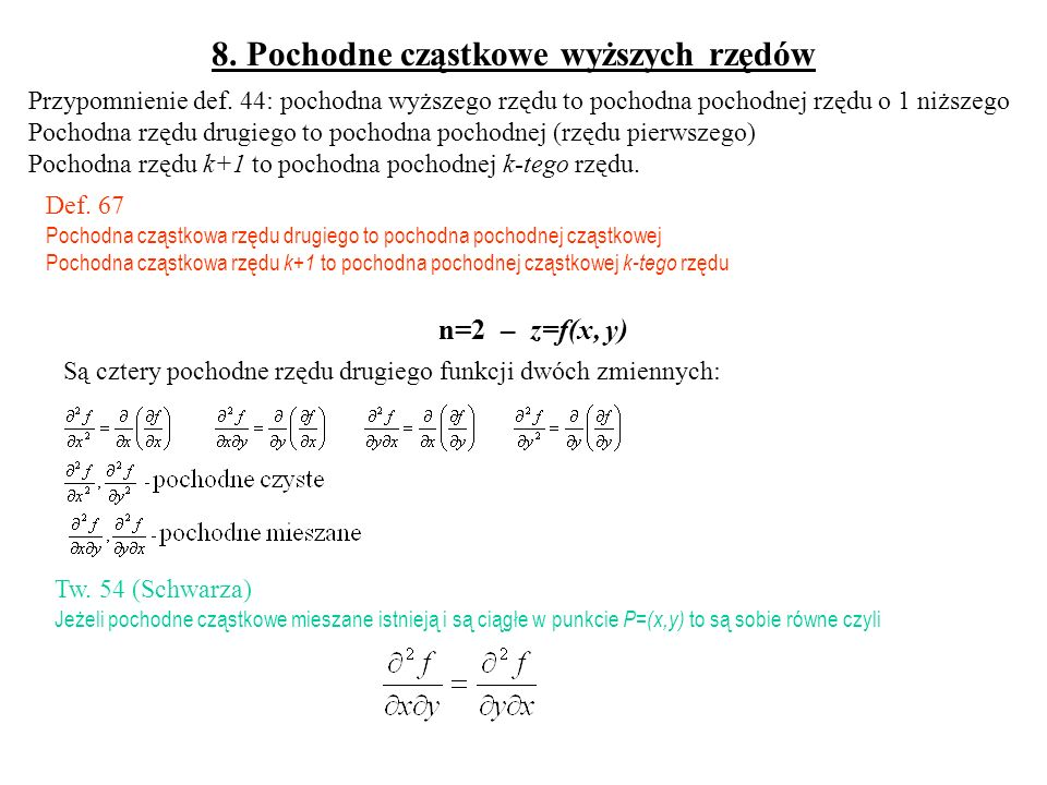 Przykład: Obliczyć w przybliżeniu wartość funkcji dla x=2,1 i y=8,05 Przyjmijmy x o =2, y o =8, Δx =0,1 Δy =0,05 Zastosowanie różniczki zupełnej – przybliżone obliczanie przyrostu funkcji (podobnie jak dla różniczki funkcji jednej zmiennej)