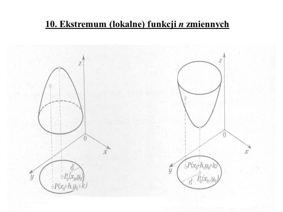 10. Ekstremum (lokalne) funkcji n zmiennych