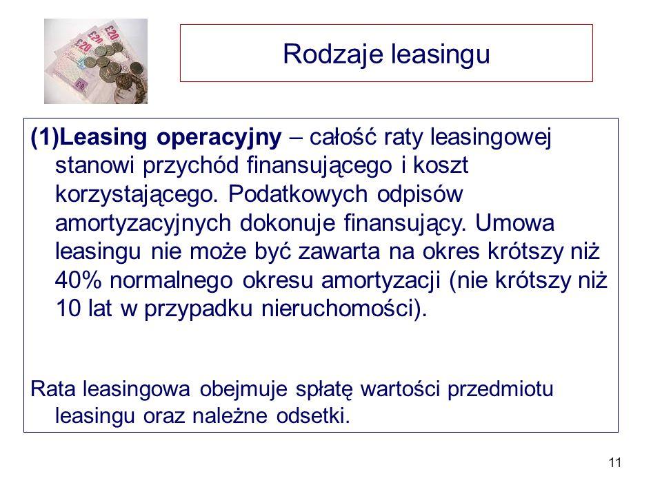 11 Rodzaje leasingu (1)Leasing operacyjny – całość raty leasingowej stanowi przychód finansującego i koszt korzystającego. Podatkowych odpisów amortyz