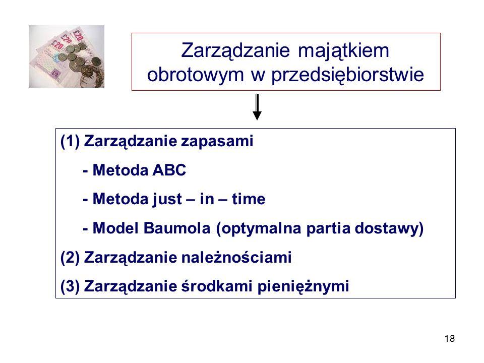 18 Zarządzanie majątkiem obrotowym w przedsiębiorstwie (1) Zarządzanie zapasami - Metoda ABC - Metoda just – in – time - Model Baumola (optymalna part